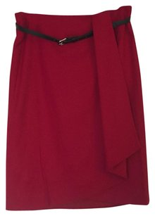 Talbots Work Elegant Holiday Wool Wrap Skirt Red