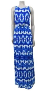 Blue Maxi Dress by Tart Tie Dye Lace Up Back Sleeveless Maxi