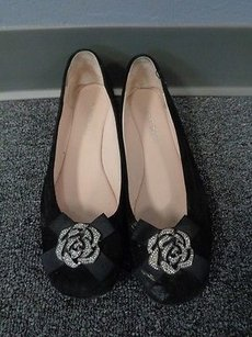 Taryn Rose Suede Metal Black Flats