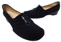 Taryn Rose Italy Nylon Patent Leather Wedge Loafers Black Flats