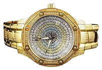 Techno Com by KC Kc Techno.com Colored Stones Dial Stainless Steel Gold Pvd Diamond Watch 8.0ct.