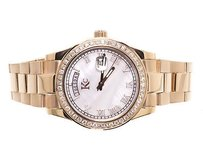 Techno Com by KC Mens Ladies Rose Stainless Steel 41mm Techno Com Kc Day Date Diamond Watch 1.9ct