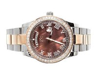 Techno Com by KC Mens Ladies Two Tone Stainless Steel 41mm Techno Com Kc Day Date Diamond Watch