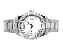 Techno Com by KC Mens Ladies White Gold Stainless Steel 41mm Techno Com Kc Day-date Diamond Watch