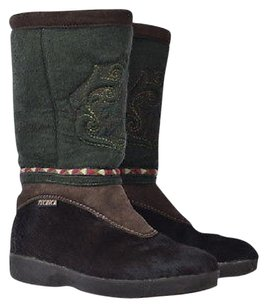 Tecnica Womens Green Mid Calf 419 Embroidered Slip On Wedge Multi-Color Boots