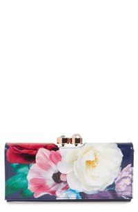 Ted Baker NWT Blushing Bouquet Leather Matinee Wallet Navy Gold Hardware