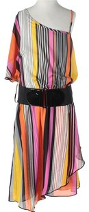 Teeze Me Striped One Shoulder Belted Dress