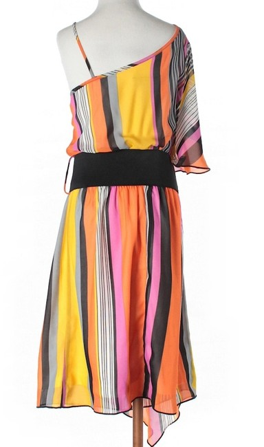 Teeze Me Striped One Shoulder Belted Flowy Dress
