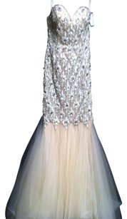 Terani Couture Beaded Netting Sequin Dress