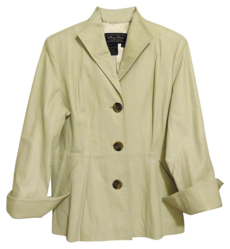 Terry Lewis Classic Luxuries Cream Leather Jacket Size 10 (M ...