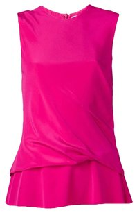 Thakoon Addition Draped Ruched Bright Ruffle Top Pink
