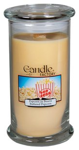 The Candle Factory The Candle Factory Large 15-Ounce Jar Crackling Candle, Buttered Popcorn