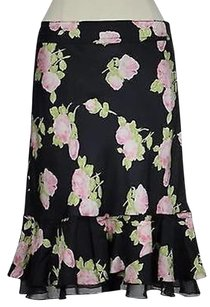 The Limited Womens Floral Silk Blend Skirt Multi-Color