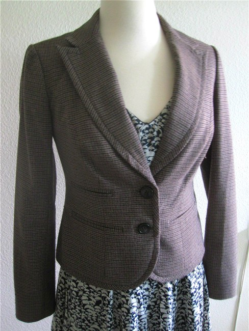 The Limited Tweed Houndstooth Jacket Wear To Work Size Xs Slim Fit Vintage Classic Brown Blazer