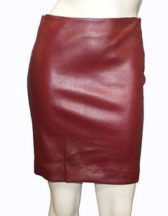 The Row Maroon Lambskin Mini Skirt Red