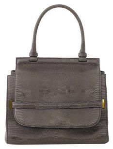 The Row Lizard Leather Brown Gray Top Handle Satchel in Green