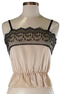 Theory Sleeveless Lace Trim Top Ivory