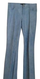 Theory Leather Size 4 Straight Pants Blue