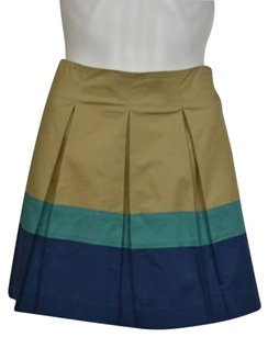 Theory Womens Color Block Pleated 00 Above Knee Casual Skirt Beige