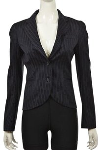 Theory Theory Branden Womens Blue Striped Blazer Wool Long Sleeve Career Jacket