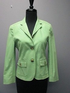 Theory Theory Light Green Cotton Long Sleeves Solid Button Lined Blazer Sm1399