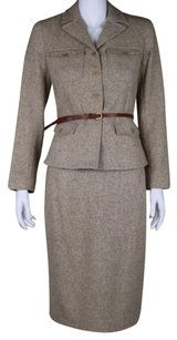 Theory Theory Womens Beige Brown Skirt Suit Wool Blazer Career