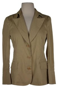 Theory Theory Womens Tan Solid Blazer Jacket Linen Blend Long Sleeve
