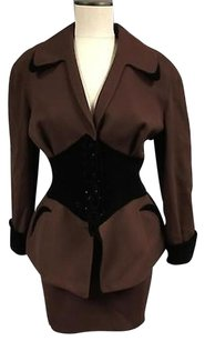 Thierry Mugler Thierry Mugler Brown Black Lace Up Detail Blazer And Pencil Skirt 2566a