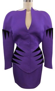 Thierry Mugler Thierry Mugler Paris Lavender Black Velvet Print Structured Skirt Suit