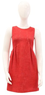 Tibi short dress Red Cotton Linen Day on Tradesy
