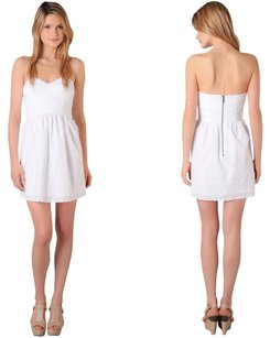 Tibi short dress White Eyelet Strapless on Tradesy