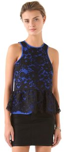 Tibi Lace Peplum Floral Top Blue, Black