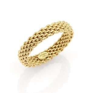 Tiffany & Co. 17437 Tiffany Co. Somerset Narrow 18k Yellow Gold 4mm Mesh Band Ring-