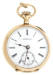 Tiffany & Co. 1800s Antique Tiffany & Co. Solid 14k Yellow Gold 0s Open Face Pocket Watch