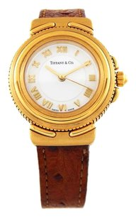 Tiffany & Co. 18k Yellow Gold Brown Ostrich Band Ladies Watch