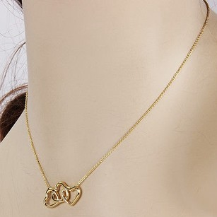 Tiffany & Co. 18k Yellow Gold Tiffany Co. Triple Heart Interlocking Pendant Necklace Wbox