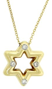 Tiffany & Co. Authentic Tiffany & Co. Solid 18K Yellow Gold Star Of David Diamond Pendant Necklace