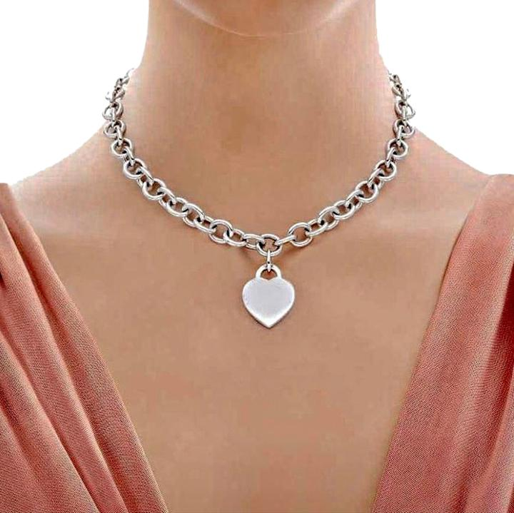92137769a ... choker necklace; beautiful tiffany co. heart tag necklace sterling  silver 16 ...