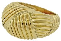 Tiffany & Co. 1992 Tiffany & Co. Solid 18K Yellow Gold Ribbed Dome Cocktail Ring Size 5.75