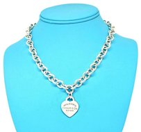 Tiffany & Co. New 17 Inches Please Return Sterling Silver Heart Charm Necklace