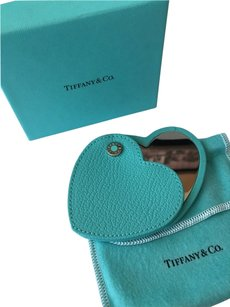 Tiffany & Co. New Tiffany Co Blue Textural Leather Twist Mirror RARE
