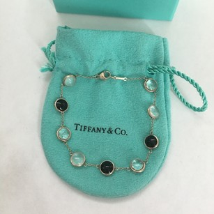 Tiffany & Co. RARE Paloma Picasso Silver Rock Crystal Milky Quartz Onyx Gemstone DOT Bracelet BOX POUCH!