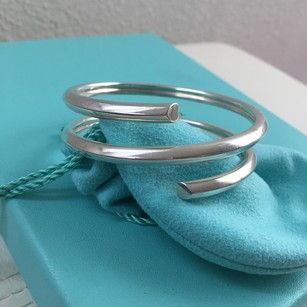 Tiffany & Co. RARE Silver Picasso Tenderness Heart Coil Bangle Bracelet POUCH BOX