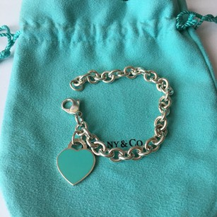 Tiffany & Co. Return to Tiffany Co RTT Blue Enamel Heart Silver Link Bracelet BOX POUCH!!