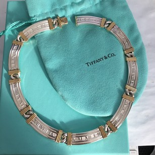 Tiffany & Co. SUPER RARE Solid Silver 18k Yellow Gold Atlas Roman Numeral Bar Collar Necklace BOX POUCH!