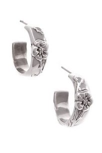 Tiffany & Co. Tiffany Co. Sterling Silver Nature Rose Hoop Earrings