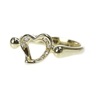 Tiffany & Co. Tiffany Co. 18k Gold Elsa Peretti Diamond Open Heart Ring Size 4.5