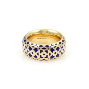 Tiffany & Co. Tiffany Co. Picasso Marrakesh 18k Yellow Gold Blue Enamel Ring