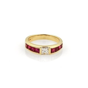 Tiffany & Co. Tiffany Co. 1.15ct Diamond Ruby 18k Yellow Gold Solitaire Stack Ring