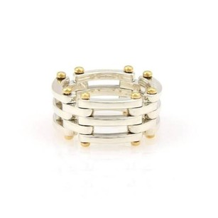 Tiffany & Co. Tiffany Co. Sterling Silver 18k Yellow Gold Gatelink 11mm Band 6.25